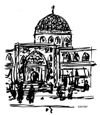 dessin place mosquée ispahan iran dessin xavier