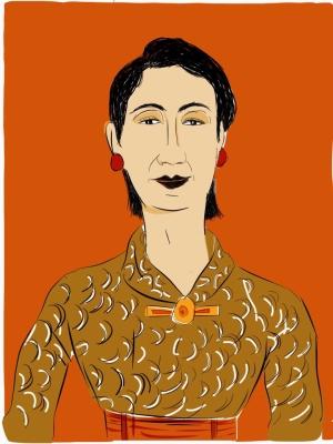 dessin presse, voyage au japon, métro de Kyoto,Dessin numérique d'une femme au japon, regard élégant et secret d'une femme, étrangeté du regard, dessin réalisé en couleur sur iPad, illustration d'un article sur la condition de la femme au Japon