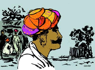 voyage inde indien portrait barbe turban tradition radjathan profil dessin image India Indian travels portrait xavier annoys turban tradition profile drawing images