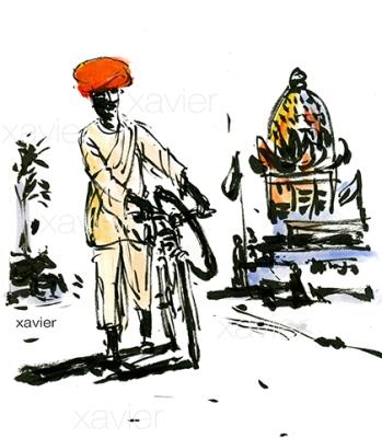 voyage dans le radjasthan, dessin encre de chine, image xavier