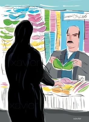 seller underwear mess Tehran illustration vendeur sous-vêtements bazar téhéran iran xavier