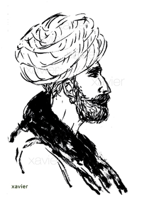 sketchbook voyage inde indien portrait barbe turban tradition radjathan profil dessin image India Indian travels portrait xavier annoys turban tradition profile drawing images