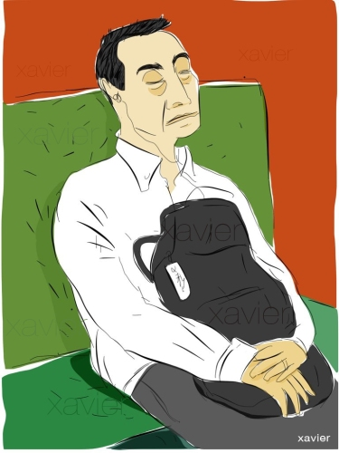 worker going back at home at the end of the day, travel in the Kyoto city, japan, tired, sketchbook, xavier illustrate japanese life
