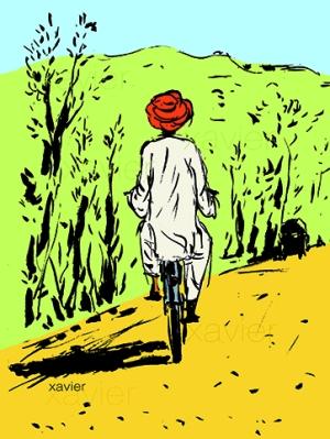 Sur les routes de terre au milieu campagne inde,dessin xavier, carnet voyage Rajasthan,sketchbook