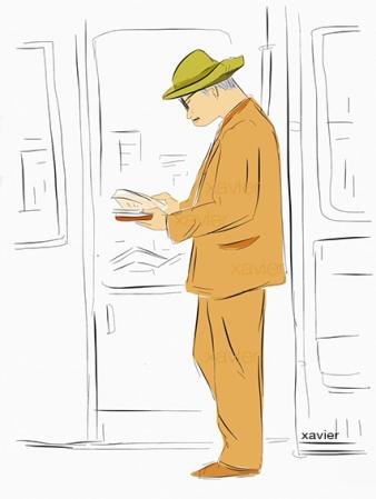 Lector japonés en el metro de Kyoto,carnet de voyage de xavier,sketchbook of japan, digital drawing