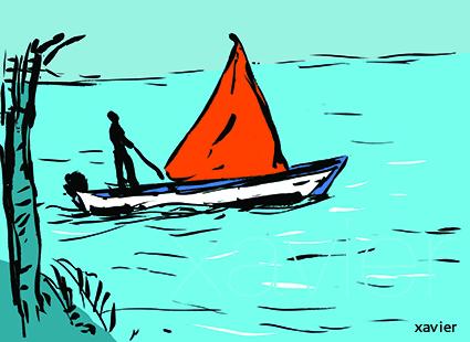 barque de pêcheur avec voile rouge dans le lagon de l'ile maurice,retour de pêche,Fisherman's boat with red sail in the lagoon of the Mauritius Island,return of fishing,sailingboat,Barca de pescador