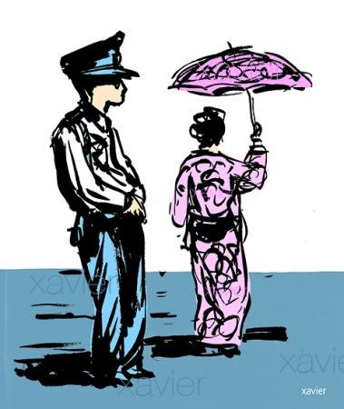 Mujer japonesa quimono traje(ropa) tradicional kyoto Japón policiaco policía japonés dibujo Japanese woman kimono traditional kyoto garment police Japan police Japanese drawing femme japonaise kimono vêtement traditionnel kyoto japon policier police japonais dessin xavier