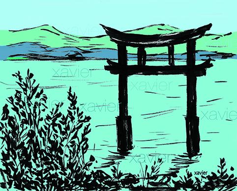 Drawing ballad lake biwa Japan carries(wears) religious temple Dibujo xavier balada lago biwa Japón lleva templo religioso dessin xavier ballade lac biwa japon porte temple religieux