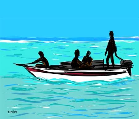 le lagon de pierres noires à l'ile maurice dans l'océan pacifique, voyager dans le pacifique, traveller, drawing
