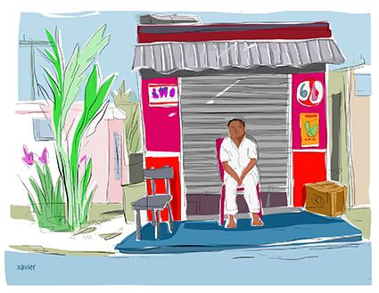 day off, Jour de repos à l'ile Maurice, mauricien au repos devant son commerce, jour de congé à l'Ile Maurice,dessin xavier