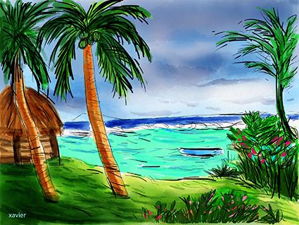 découverte, guide de voyages ile maurice, bord de mer bare de corails sous les palmiers, dessins xavier artiste illustrateur dessinateur press