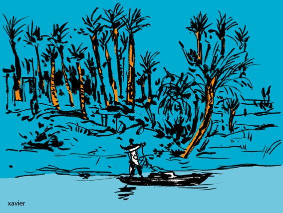 A lo largo del nilo los pescadores lanzan ellos redes a la caída del nuit.dessin xavier. Reportaje viaja por Egipto.dessin xavier.Reportaje viaja por Egipto,Le long du nil les pêcheurs lancent leur filets à la tombée de la nuit.dessin xavier.