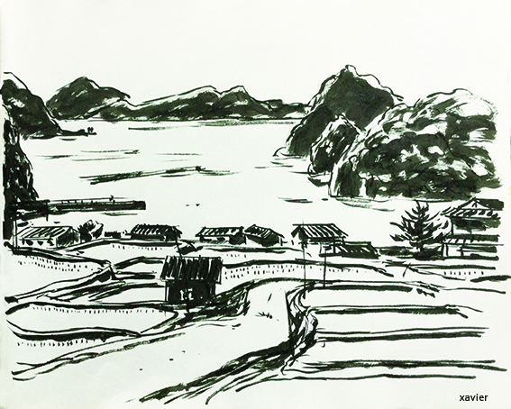 Traditional culture of the rice in Japan on the seaside of Japan,sketch of journey,culture traditionnelle du riz au japon sur les bords de la mer du japon, dessin xavier, croquis de voyage,