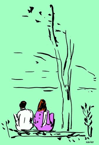 couple de jeunes amoureux pakistanais, illustration xavier