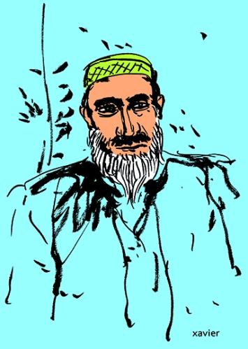 le regard vif d'un pakistanais, dessin de xavier, croquis à l'encre