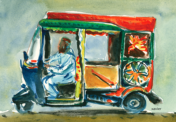aquarelle de xavier d'un rickshaw dans les rues d'Islamabad au pakistan,Acuarela de xavier de un rickshaw en las calles de Islamabad a paquistán,Xavier watercolour of a rickshaw in the streets of Islamabad, Pakistan,