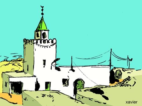 découvrir et voyager en tunisie, mosquée au bord du désert