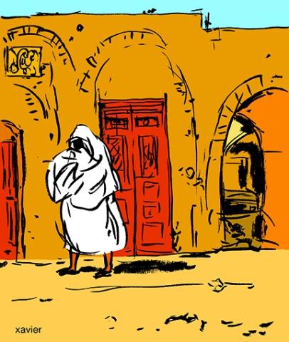 femme voilée de blanc dans un village de tunisie, voyage à Tunis, dessin xavier