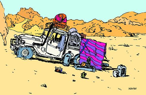 bivouac dans le désert tunisien, dessin de xavier pangaud, voyager en tunisie